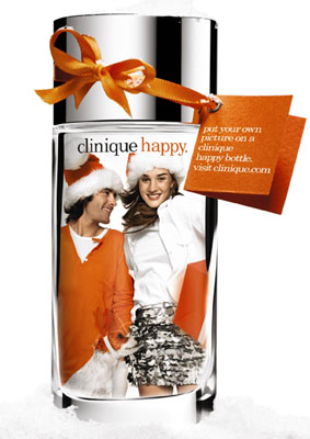 Holiday Gift Guide 2007: CLINIQUE HAPPY Personalized Photo Bottle