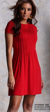 Think Red: Jersey Pintucked dress by Vivienne Tam