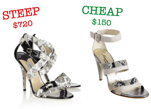 Steep vs. Cheap: Snakeskin Sandals