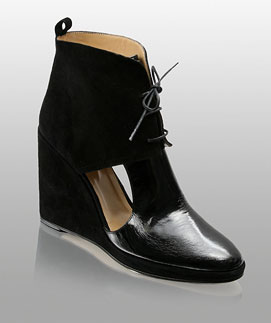 Opening Ceremony Patent And Suede Cut-Out Platform Wedge Ankle Boots