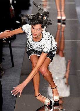 Fashion Fix: Model takes a tumble at Chanel Couture