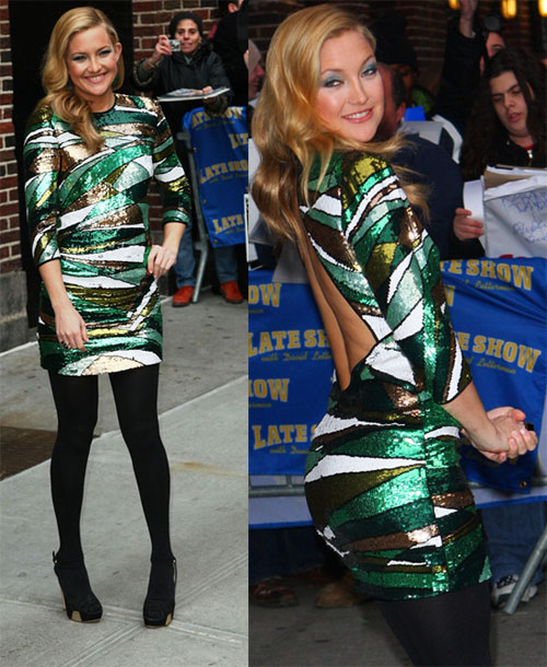 Kate Hudson glistens at Letterman