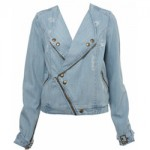 Miss Selfridge Light Wash Diagonal Zip Jacket