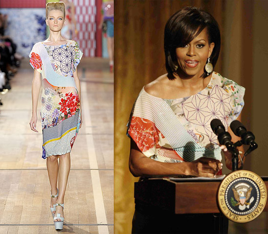 Michelle Obama wears Basso & Brooke