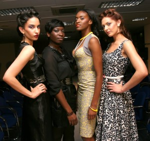 Designer Georgette Williams with her designs