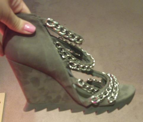 Grey suede chain wedges by Camilla Skovgaard