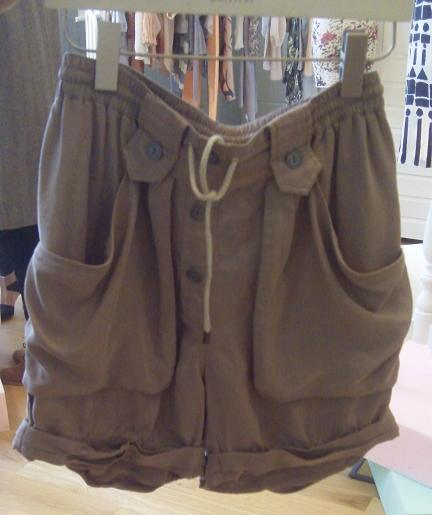 Khaki high waisted drawstring shorts