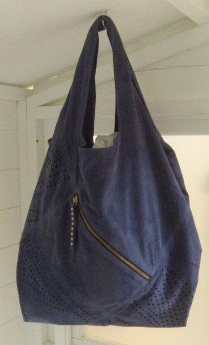 Navy suede zipped tote