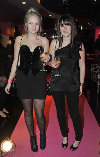 Emily and friend Sarah at Wonderbra Ultimate Strapless party