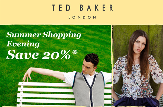 Save 20% at Ted Baker's Summer Shopping evening!