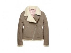 Acne camel moleskin borg lined biker jacket