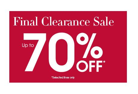 70% off in the Debenhams final clearance sale!