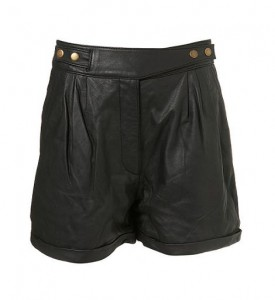 Topshop leather tab shorts
