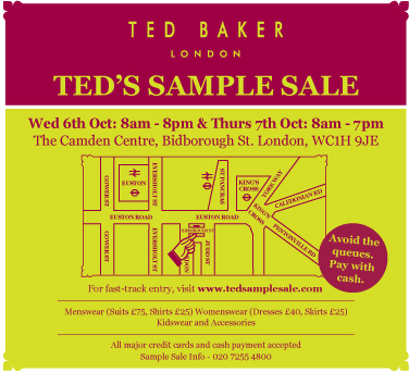 what ted baker sample sale. Black Bedroom Furniture Sets. Home Design Ideas