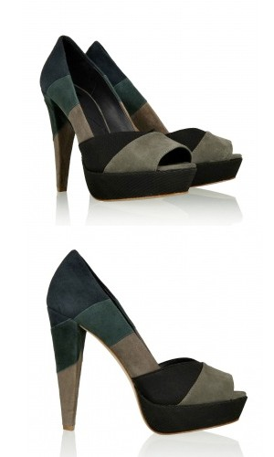 Party shoes under £250: 7 For All Mankind tri suede peep toes