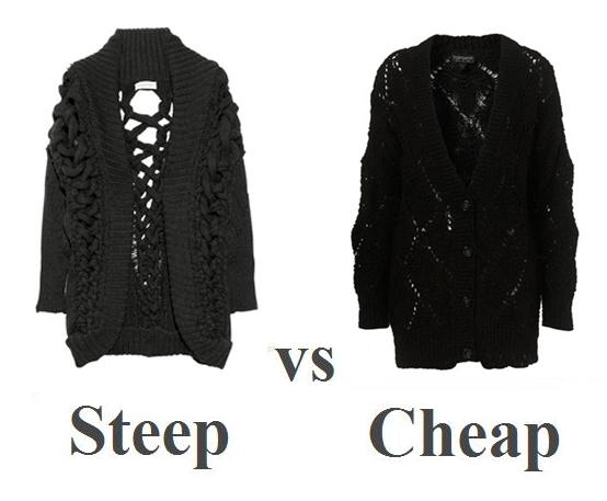 Steep vs Cheap: chunky knit cardigan