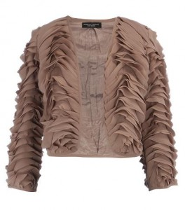 Dorothy Perkins taupe ruffle crop jacket