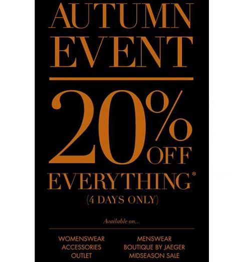 20% off everything at Jaeger!