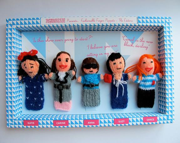 Follow us on Twitter and win RUBBISH's fashion editor finger puppets!