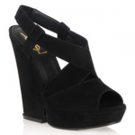 Party shoes over £250: YSL suede peep toe wedges
