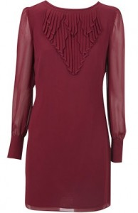 oasis long sleeve pleat neck shift edit
