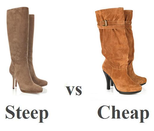 Steep vs Cheap: Camel knee high boots