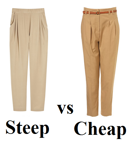 Steep vs Cheap: camel coloured trousers