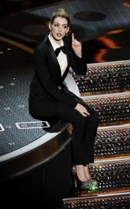 Co-host Hathaway sings during the 83rd Academy Awards in Hollywood