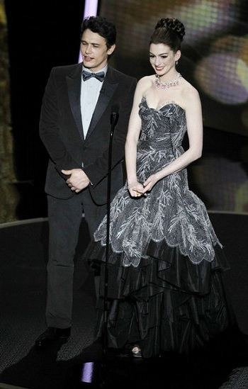 James Franco and Anne Hathaway talk on stage during the 83rd Academy Awards in Hollywood