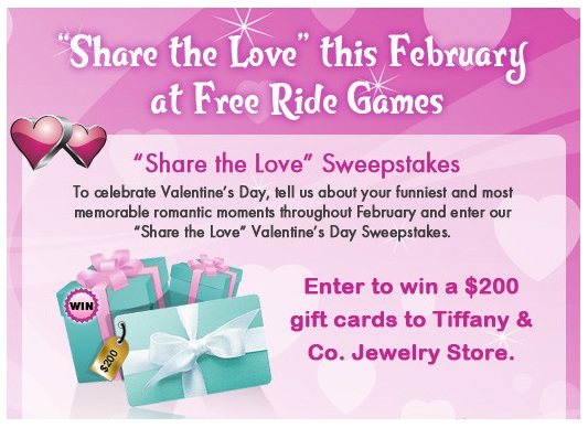 Share the love with Free Ride Games and win a $200 Tiffany voucher this Valentine's day!