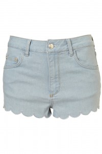 Topshop moto blue scallop hem shorts