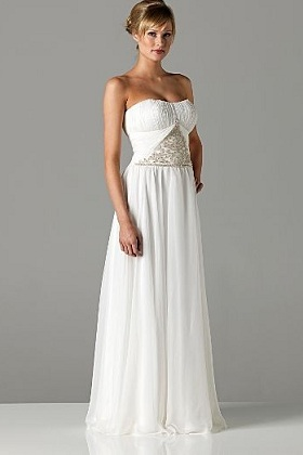 Ivory Embellished Bandeau Bridal Dress GBP400