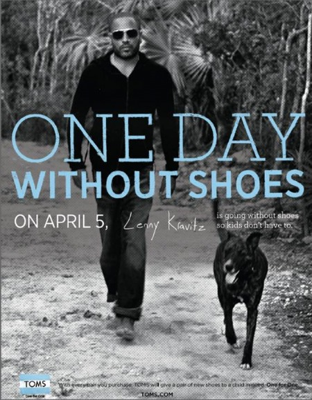 Take your shoes off today for TOMS 'One Day Without Shoes' campaign