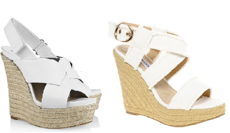 Steep vs Cheap: White Espadrille Wedges
