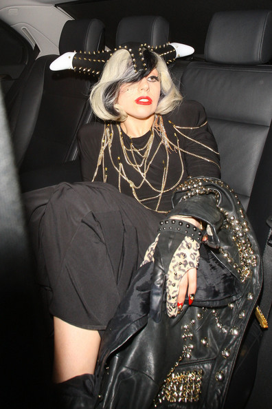 Lady Gaga wears studded horns in London; can tell who designed a dress by its hem