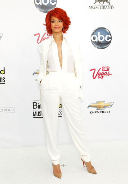Rihanna blends into the background in white Max Azria