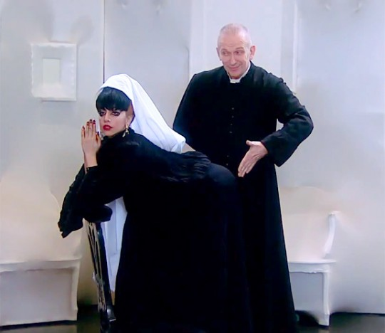 Lady Gaga gets spanked by Jean Paul Gaultier