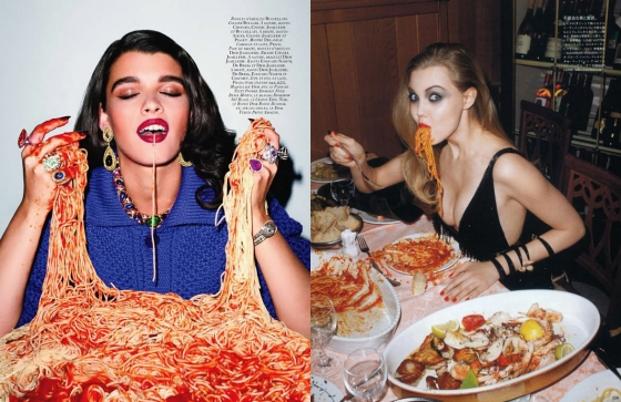 Lindsey Wixson stuffs her face full of spaghetti for Japanese Vogue