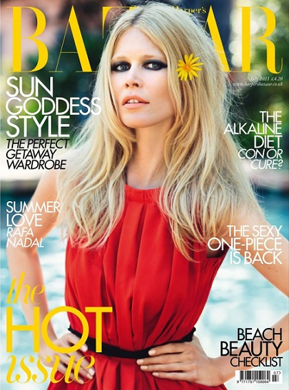 Claudia Schiffer shimmers across 21 pages for Harper's Bazzar's July issue