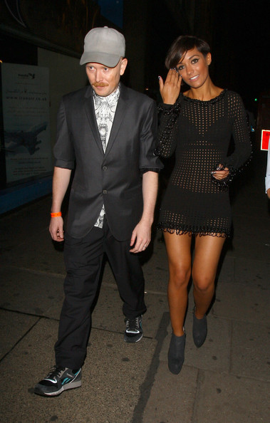 Frankie Sandford gets tangoed in a see-through knit dress