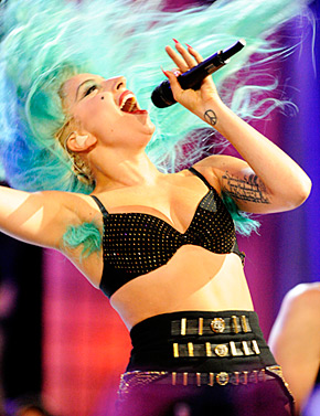Lady Gaga sports blue armpit hair in Toronto