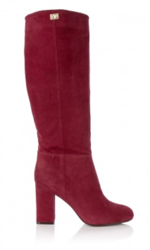 Chic Shoegasms: DVF cranberry youth suede block heel boot