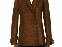 LANVIN Mohair-silk coat with fox fur trim
