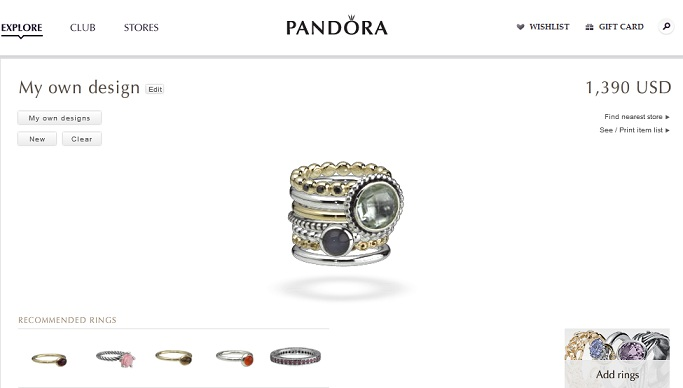 Design your own ring with Pandora Jewellery!