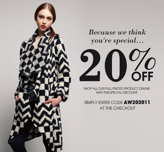 Get 20% off full price items at Oasis!