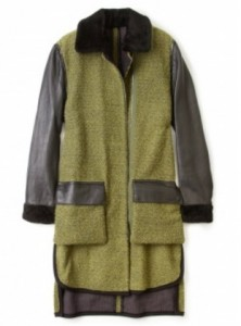 3.1 Philip Lim combo fabric fur collar coat