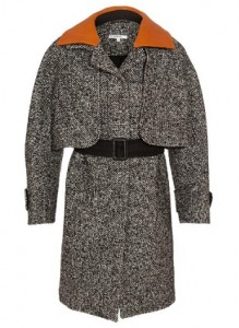 Carven tweed cape-coat with leather collar