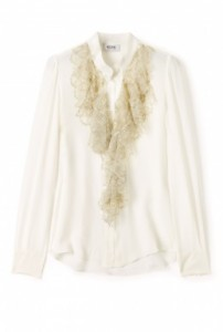 Moschino Cheap & Chic Lace Ruffle Front Blouse