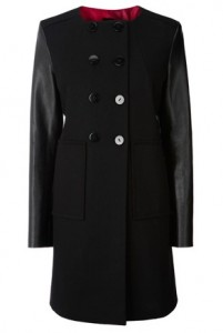 Oasis faux leather sleeve collarless coat