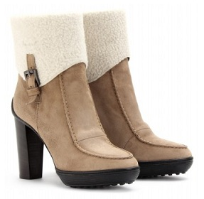 Tods sheepskin cuff ankle boot